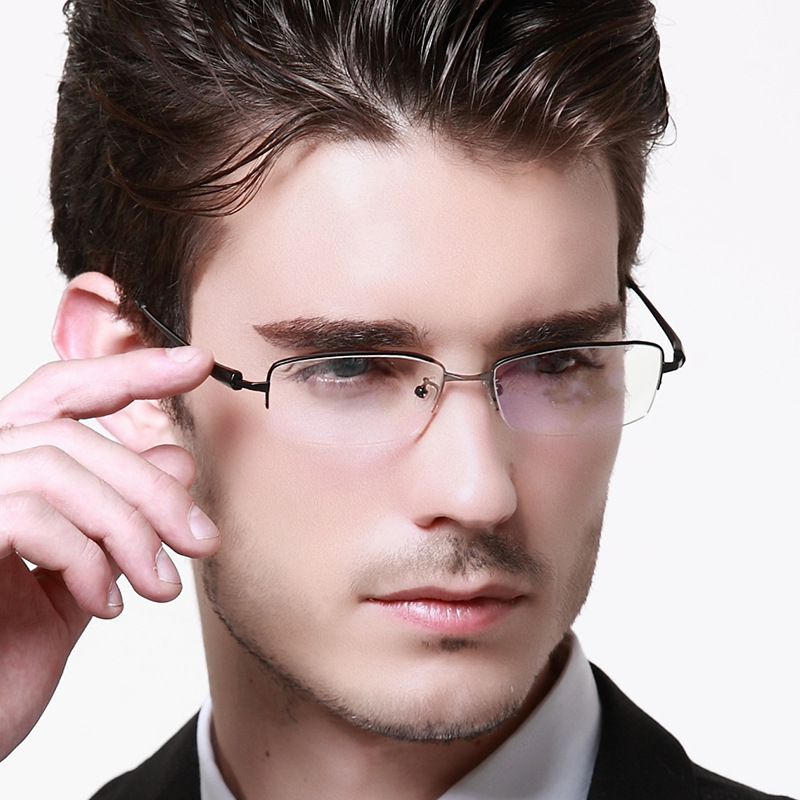 2015 New Fashion Men Titanium Eyeglasses Frames Men Brand Business Titanium Eyeglasses Half Frame With Glasses on optique eye care