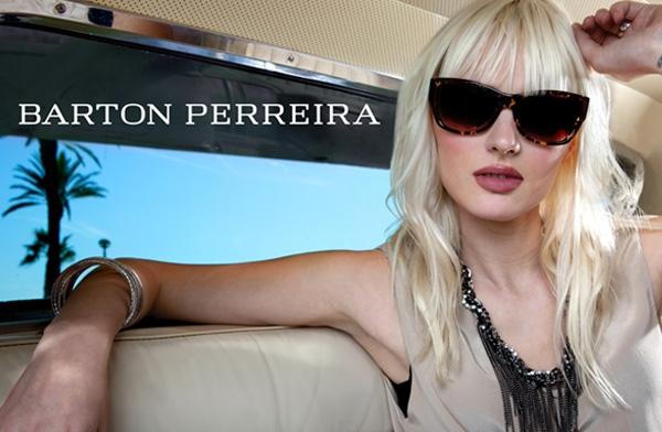 Model wearing Barton Perreira sunglasses